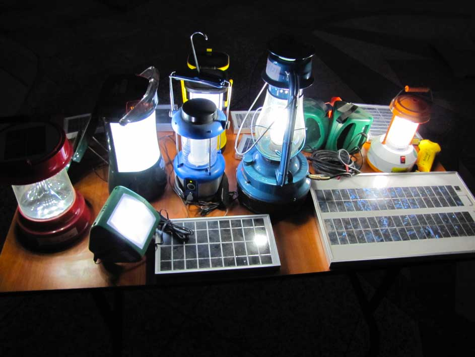 Consumer off-grid products are divided into three main categories: solar portable lanterns (SPL), solar multi-light systems (MLS) and Solar Home Systems (SHS). Solar Portable Lanterns (above) are single light systems, with or without mobile charging facility, consisting usually of a solar panel, a Lithium battery as well as plastic and steel, weighing usually less than 1 kg